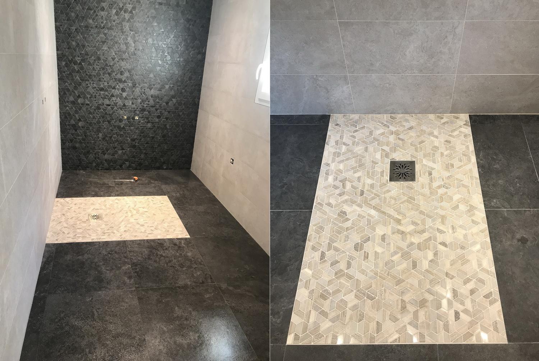 Salle de bain environ 8 m2 - Sol 60 par 60 rectifié, faïence 25 par 60 et bac à l'italienne 120 par 90